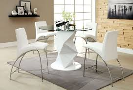 5 pc halawa iii collection contemporary style white finish counter height pedestal and round gl top dining table set this set features a dining table