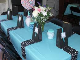 Tiffany blue, black and white tables from Michele's baby shower April 27,  2013.