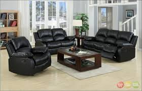 Living Room Brown Leather Reclining Sofa Microfiber Reclining