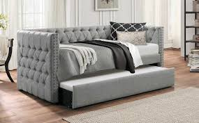 upholstered daybed with trundle. Delighful Trundle Homelegance Adalie Button Tufted Upholstered Daybed With Trundle  Gray In With A