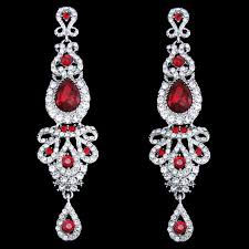 red chandelier long drop earrings long drop bridal red pageant crystal earrings