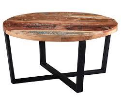 coastal reclaimed wood round coffee table