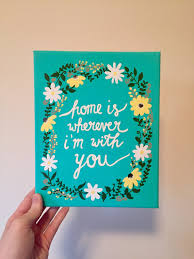 home is wherever i m with you teal daisy fl painting 8x10