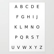 Alphabet Capital Letters Art Print By Crosscategory