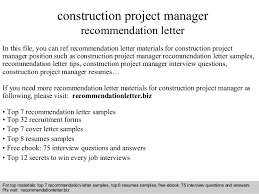 Ideas Collection Construction Project Manager Re Mendation Letter
