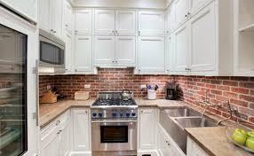elegant brick backsplash kitchen presented