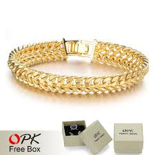 Mens Gold Bangles Designs Us 8 26 Opk Cool Man Gold Color Bracelet Chain Bracelets For Men Never Fade Anti Allergy Wide Surface 11mm Jewelry 158 In Chain Link Bracelets