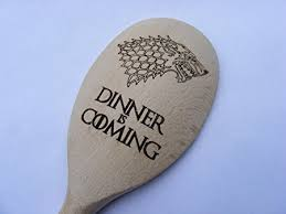 The Wooden Spoon Game NEW GAME OF THRONES DINNER IS COMING WINTER WOLF WOODEN BAKING 35