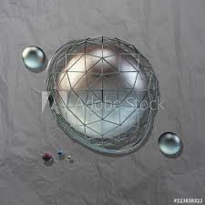 large steel sphere with a glossy color reflections in the iron lattice and small glass spheres