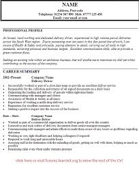Gallery Of Delivery Driver Cv Example Personal Driver Resume