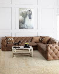 leather sectional sofa traditional.  Traditional Tufted Leather Sectional With Square Arms Traditional Paneling In Neutral  Room On Leather Sectional Sofa Traditional S