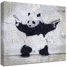 on panda wall art uk with banksy canvas panda wall