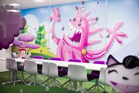 inspiring office design. Bright Interior Colors And Unique Wall Murals For Modern Office Designs Inspiring Design