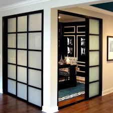 wall slide doors laminated glass black frame