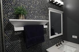 towel bar floating wood shelf with