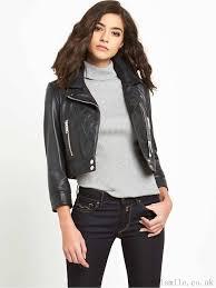 replay black leather biker jacket women
