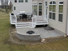 paver patio with deck. Beautiful Deck Baltimore Maryland Deck Replacement Featuring PVC Railings With Deckorator  BalustersDeck On Paver Patio With S