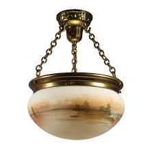 sold antique hand painted inverted dome chandelier coastal scene