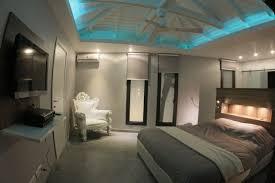 blue false ceiling light