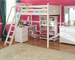 Bedroom. . white wooden loft bed with assorted color stripped bed sheet and  white wooden