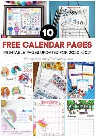 Print out a blank calendar each month for your students to color. 10 Free Printable Calendar Pages For Kids For 2020 2021