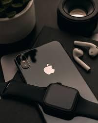 space black Apple Watch over black ...