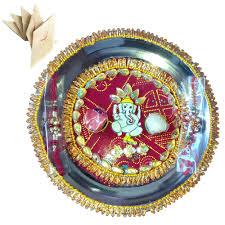 Rakhi Thali Design Steel Pooja Accessories Multi Colored Ganesha Spiritual