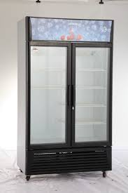commercial 2 glass door upright beverage display refrigerator freezer cooler