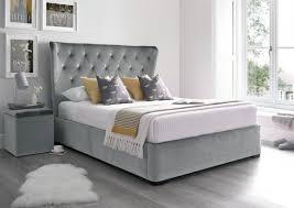 Savannah Bedroom Furniture Savannah Upholstered Winged Ottoman Storage Bed Velvet Grey