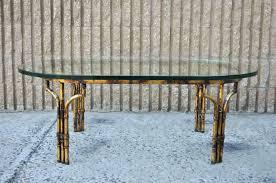 gold bamboo glass coffee table beautiful vintage regency faux bamboo glass top oval coffee table the