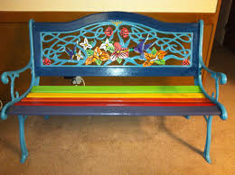 Bench Painted Bench Rainbow Painted Bench Stock Photo Royalty Hand Painted Benches