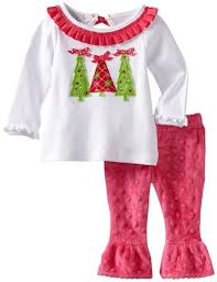 Mud Pie girls Christmas tree top and leggings