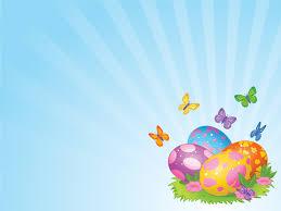 Yellow Easter Eggs Powerpoint Templates Aqua Cyan Green