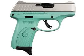 ruger ec9s 9mm striker fired pistol with turquoise grip frame and stainless slide