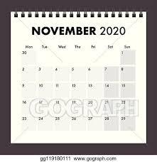 November 2020 Calendar Clip Art Vector Stock November 2020 Calendar With Wire Band