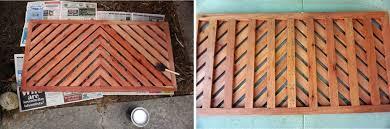 applying varnish to the top and bottom of diy wooden doormat