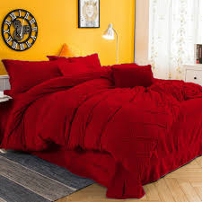 details about bedding collection 3 pc twin twin xl red pintuck velvet duvet cover set