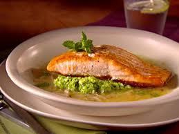 salmon in lemon brodetto with pea puree recipe giada de lauiis food network