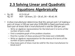 2 3 solving linear and quadratic equations algebraically