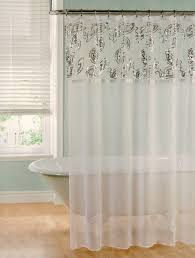 lily sheer white fabric shower curtain with silver paisley sequin appliqued design