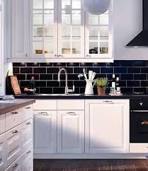 White Kitchen Cabinets With Black Countertops Enchanting Black Tile Backsplash T48amlat