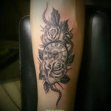 Tattoo Uploaded By вадим татуировка розы и часы работа выполнена