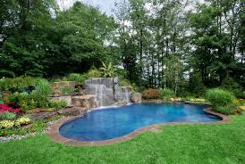 natural looking in ground pools. Backyard Natural Lagoon Inground Pool And Waterfall Designs  Installation Mahwah New Jersey Looking In Ground Pools