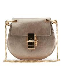 Chloe Designer Bags 245 Chloe Drew Mini Metallic Leather Crossbody Bag Gold