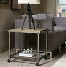 unique industrial furniture. Industrial Factory Style End Table Concrete Metal Wheeled Cart Furniture Unique
