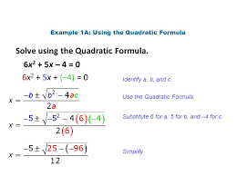 example 1a using the quadratic formula
