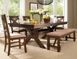 Image Corner Roundhill Furniture 6piece Karven Solid Wood Dining Set With Table Chairs And Foter Dining Table With Bench Seating Ideas On Foter