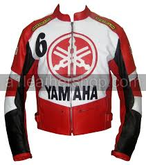 yamaha 6 red white and black motorcycle leather jacket