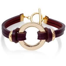 leather gold circle bracelet claret