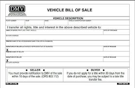 Motor Vehicle Bill Of Sale Template Free Free Vehicle Bill